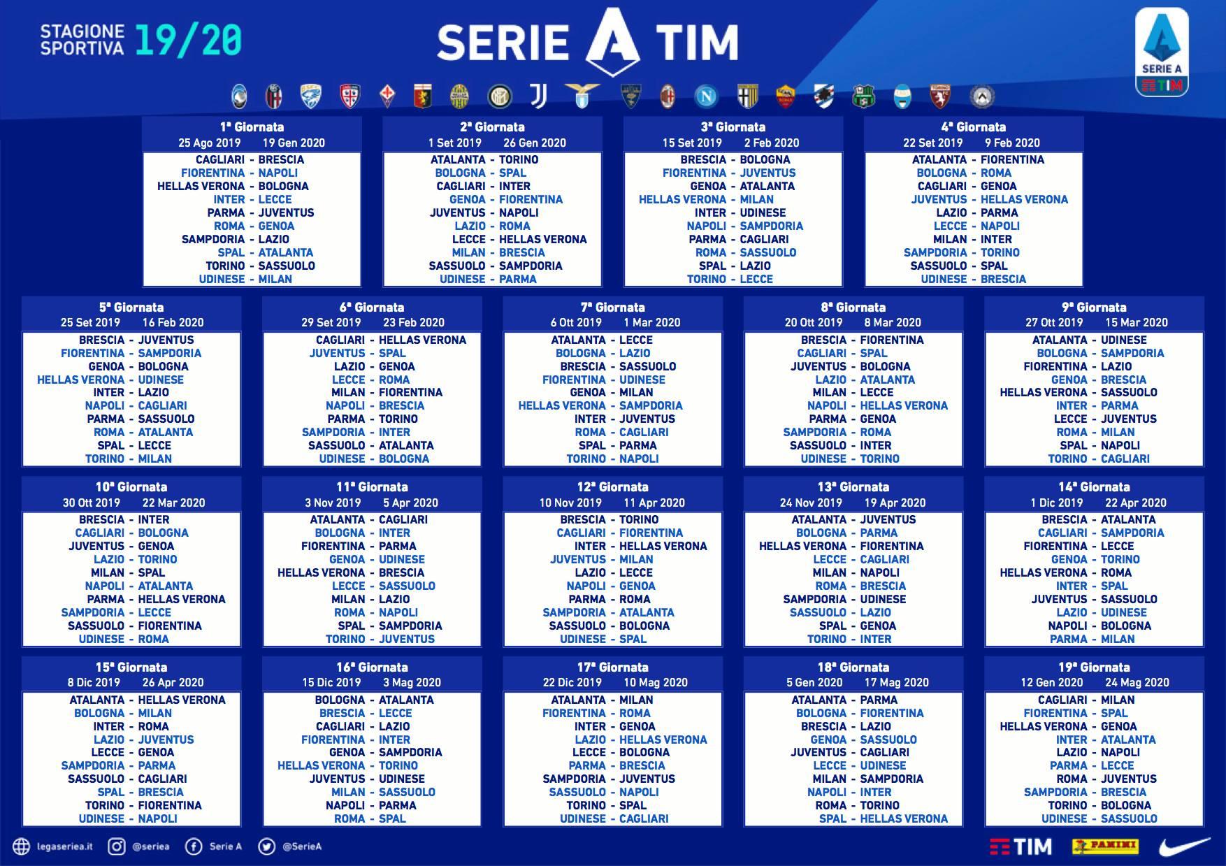 Calendario Religioso 2020.Calendario Serie A Tim 2019 2020 Le Notizie Di Genova E