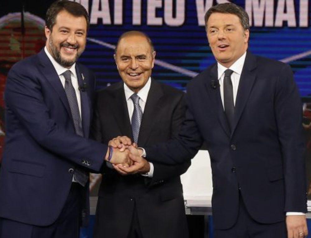 """""""FACCIA A FACCIA IN TV A PORTA PORTA TRA I DUE LEADER: MATTEO SALVINI-MATTEO RENZI!"""""""