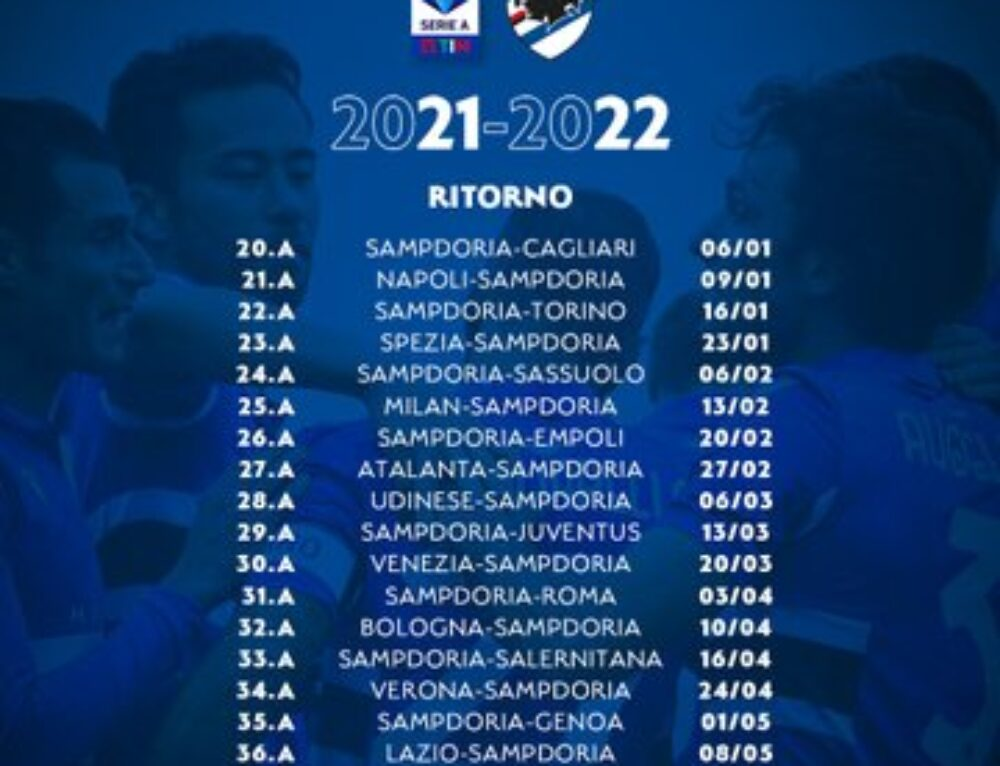 """""""Calendario Serie A Tim 2021/2022 Sampdoria Ritorno!"""""""